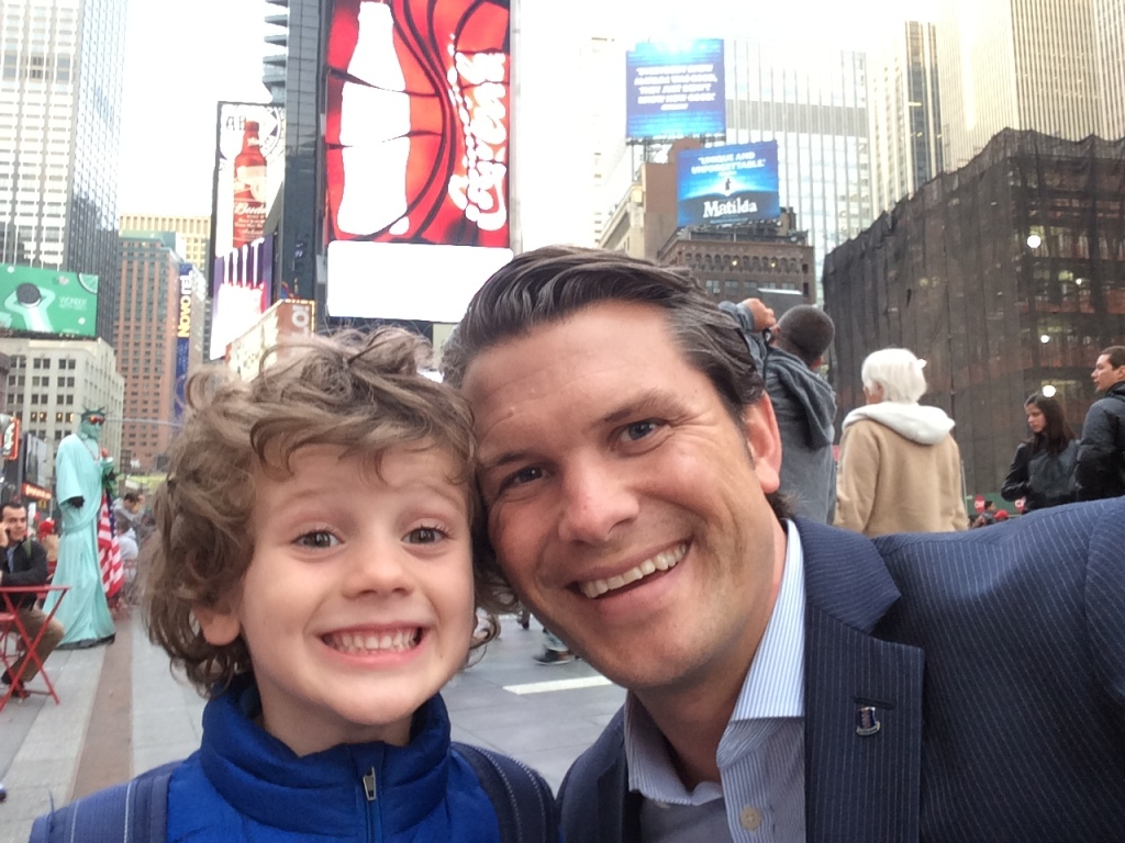 Pete Picture 2: Selfie with Son in Times Square
